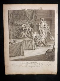 Butley 1762 Antique Religious Print. Isaac blessing his son Jacob